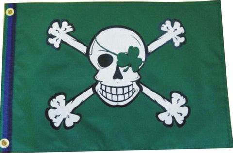 "Blarney Bones Shamrock Patch 12""x 18"" Pirate Flag"
