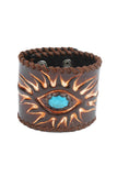 Hippie Style leather Bracelet in Third eye design with turquoise accent