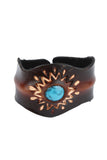 Hippie style leather Wristband with Turquoise accent and flower pattern design
