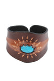 Hippie style leather Wristband with Turquoise accent star design