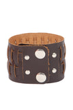 Punk Style Genuine leather wrist band with horizontal braided design
