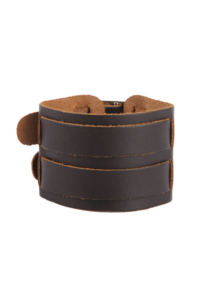 Punk Style Genuine leather wrist band with dual buckle design