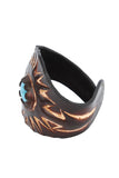 Hipster style Wristband in brown, inlaid Turquoise accent, Sunburst Pattern