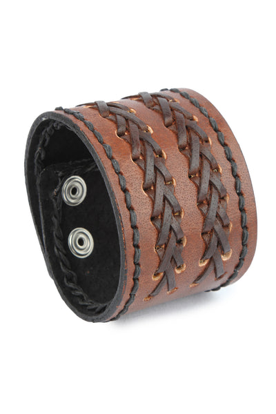 Retro style Fashion Geniune leather Brown Wristband in Braided design
