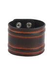 Punk style Geniune Leather Brown Wristband with streamlined pattern