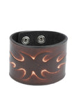 Punk fashion Geniune Leather Wristband with flame pattern