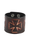 Punk fashion Geniune Leather Cuff Bracelet with Victorian Cross Design