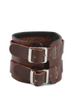 Punk fashion Geniune Leather Brown Cuff Bracelet with Victorian Cross Design