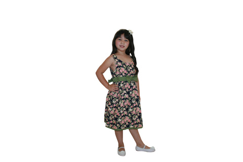 f Little Gugu Kids Girls - Black & Green Floral Dress