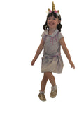 Little Gugu Kids Girls - light blue & pink dress