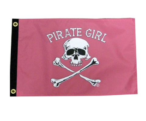 Pirate Girl Jolly Roger 12 by 18-Inch Flag