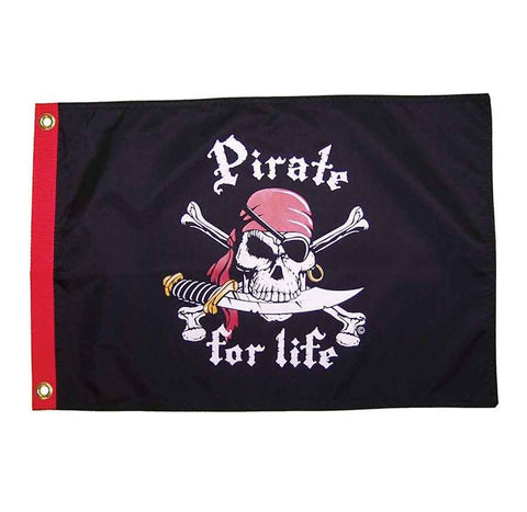 Pirate for Life Jolly Roger 12 by 18-Inch Flag
