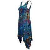 Women's Boho Tie Dye Long Tank Top Cover Up Dress
