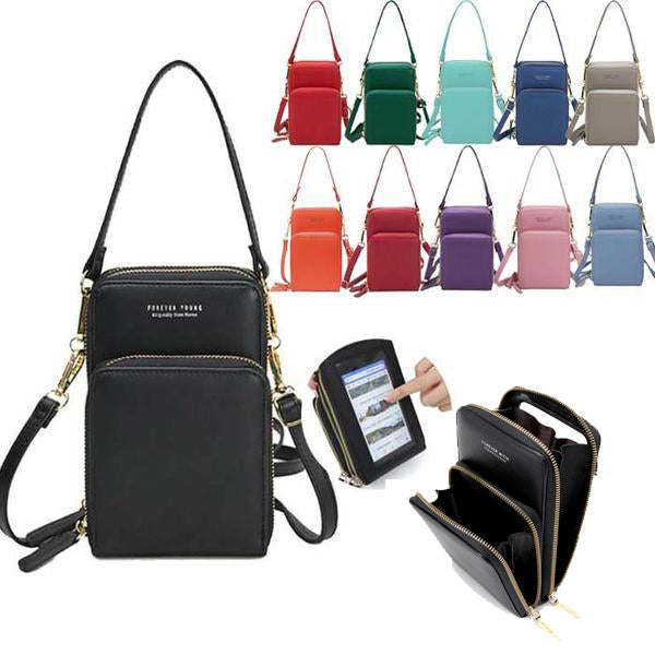 Ladies Touch Screen Purse with 2 Zipper Open Pockets