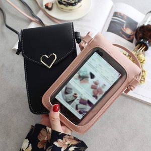 Heart-Shaped Touch Screen Purse With Clear Window | Dark Pink - TouchScreenPurse.online
