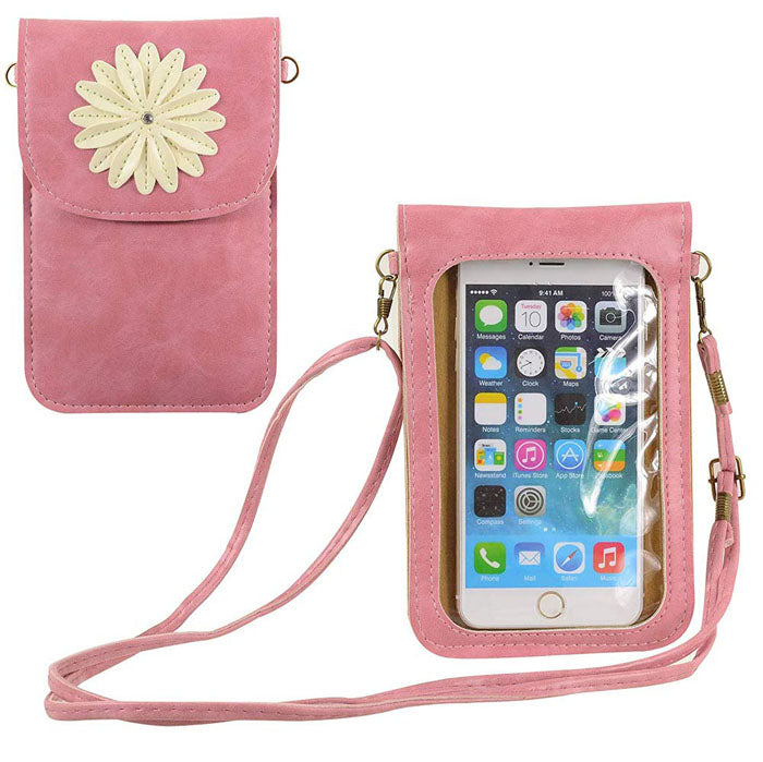 Flower Touch Screen Purse with Clear Window | Pink