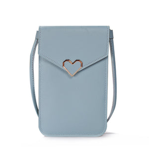 Heart-Shaped Touch Screen Purse With Clear Window | Grey Blue - TouchScreenPurse.online
