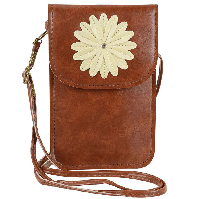 Flower Touch Screen Purse with Clear Window | Coffee