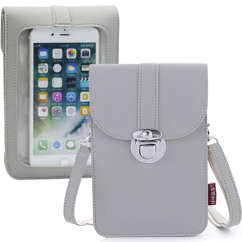 Women Touch Screen Purse With Clear Window Pockets | Grey - TouchScreenPurse.online