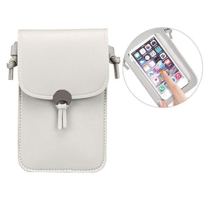 Camille Touch Screen Purse With Clear Window | Light Grey - TouchScreenPurse.online