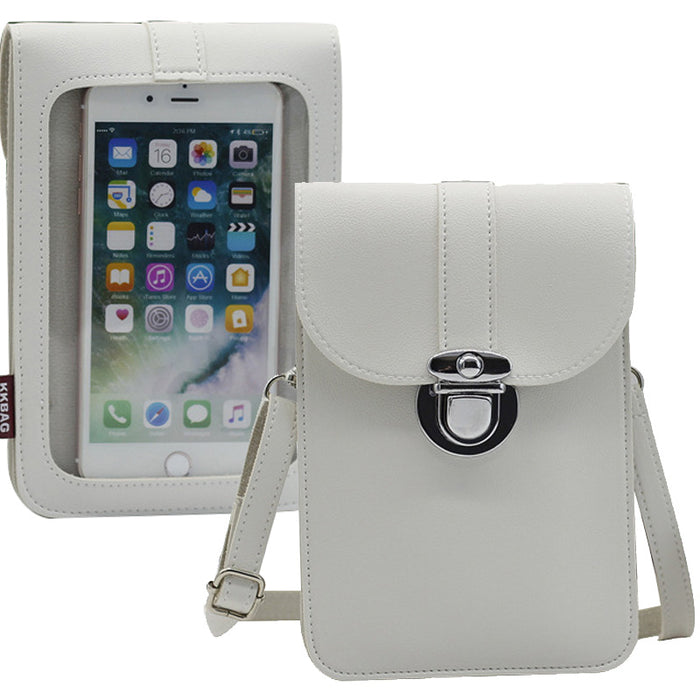 Women Touch Screen Purse With Clear Window Pockets | White