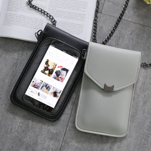 Cat Style Touch Screen Purse With Clear Window | Black - TouchScreenPurse.online