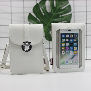 Women Touch Screen Purse With Clear Window Pockets | White - TouchScreenPurse.online