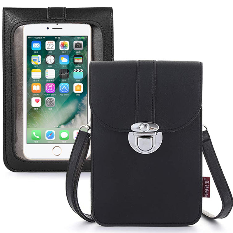Women Touch Screen Purse With Clear Window Pockets | Black - TouchScreenPurse.online
