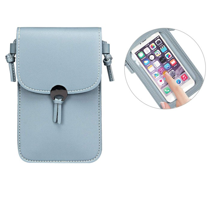 Camille Touch Screen Purse With Clear Window | Blue
