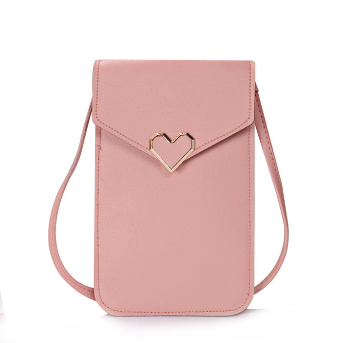 Heart-Shaped Touch Screen Purse With Clear Window | Light Pink