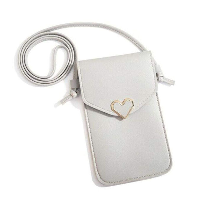 Heart-Shaped Touch Screen Purse With Clear Window | Light Grey - TouchScreenPurse.online