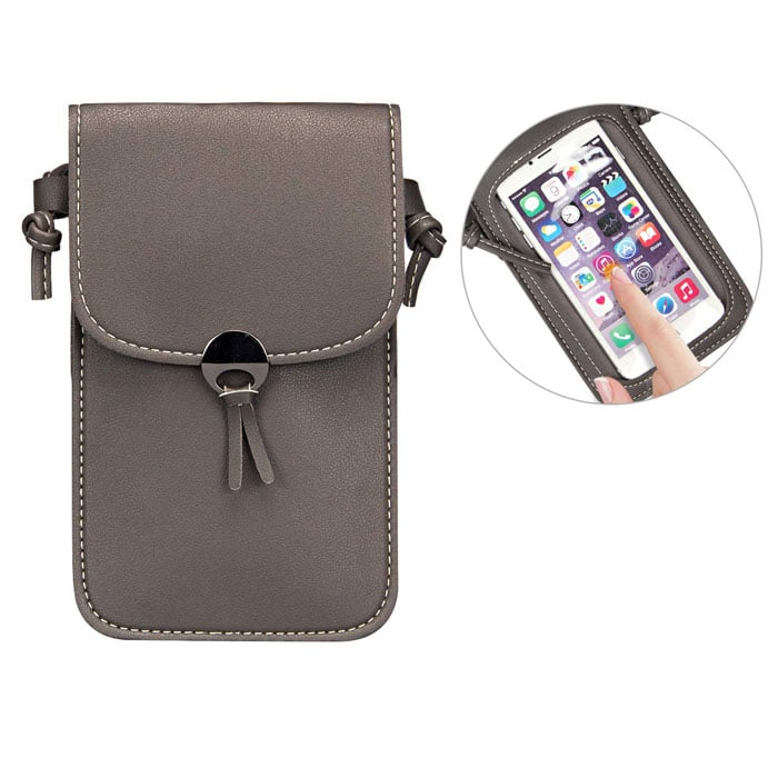 Camille Touch Screen Purse With Clear Window | Dark Grey