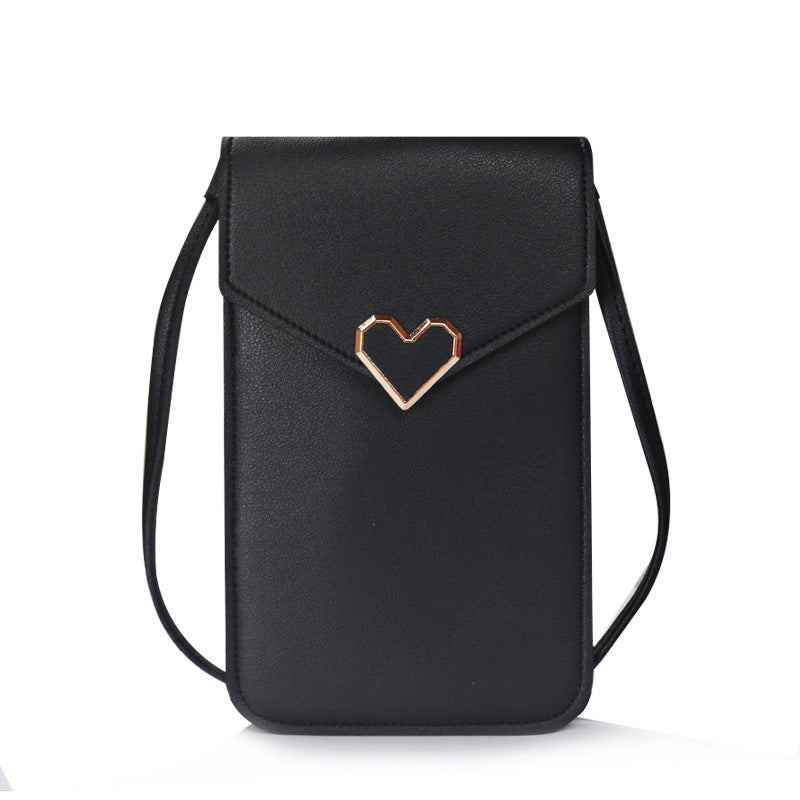 Heart-Shaped Touch Screen Purse With Clear Window | Black - TouchScreenPurse.online
