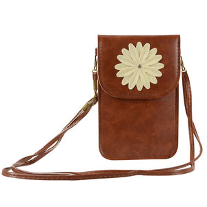 Flower Touch Screen Purse with Clear Window | Coffee - TouchScreenPurse.online