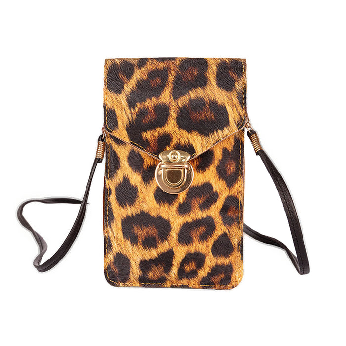 Women Touch Screen Purse With Clear Window Pockets | Leopard