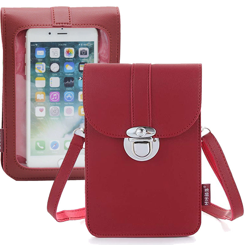 Women Touch Screen Purse With Clear Window Pockets | Red - TouchScreenPurse.online