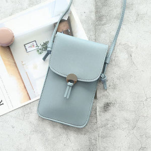 Camille Touch Screen Purse With Clear Window | Blue - TouchScreenPurse.online