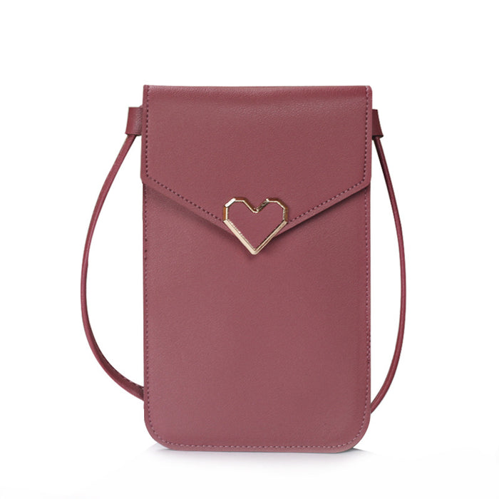 Heart-Shaped Touch Screen Purse With Clear Window | Dark Pink