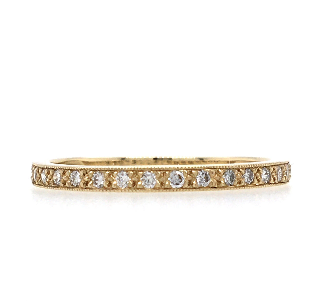 Diamond & 18ct Gold Fine Mill Grain Ring
