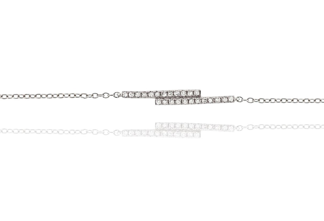 Diamond Double Bar Bracelet 18ct White Gold