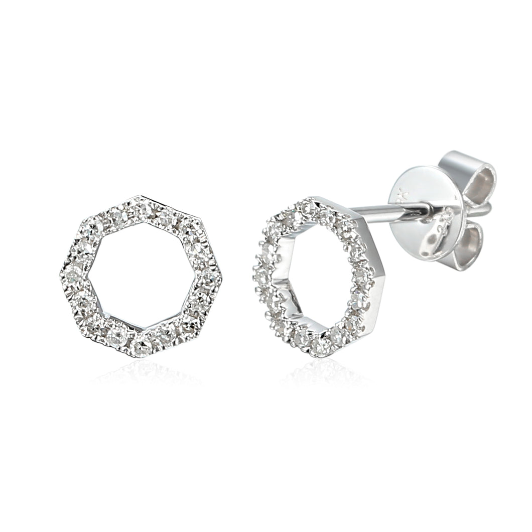 Diamond Octagon Earrings 18ct White Gold