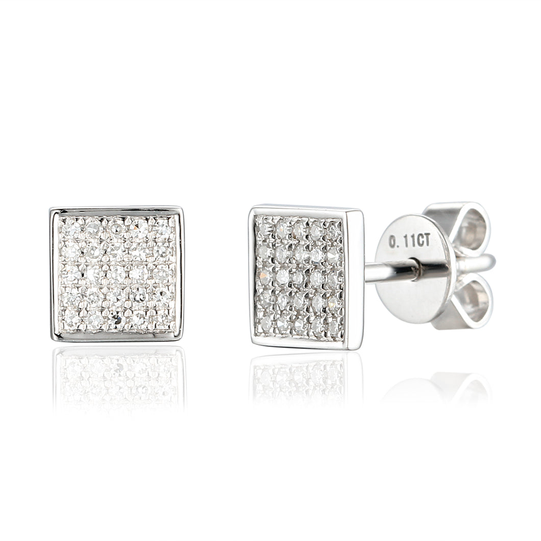 Diamond Square Earrings 18ct White Gold