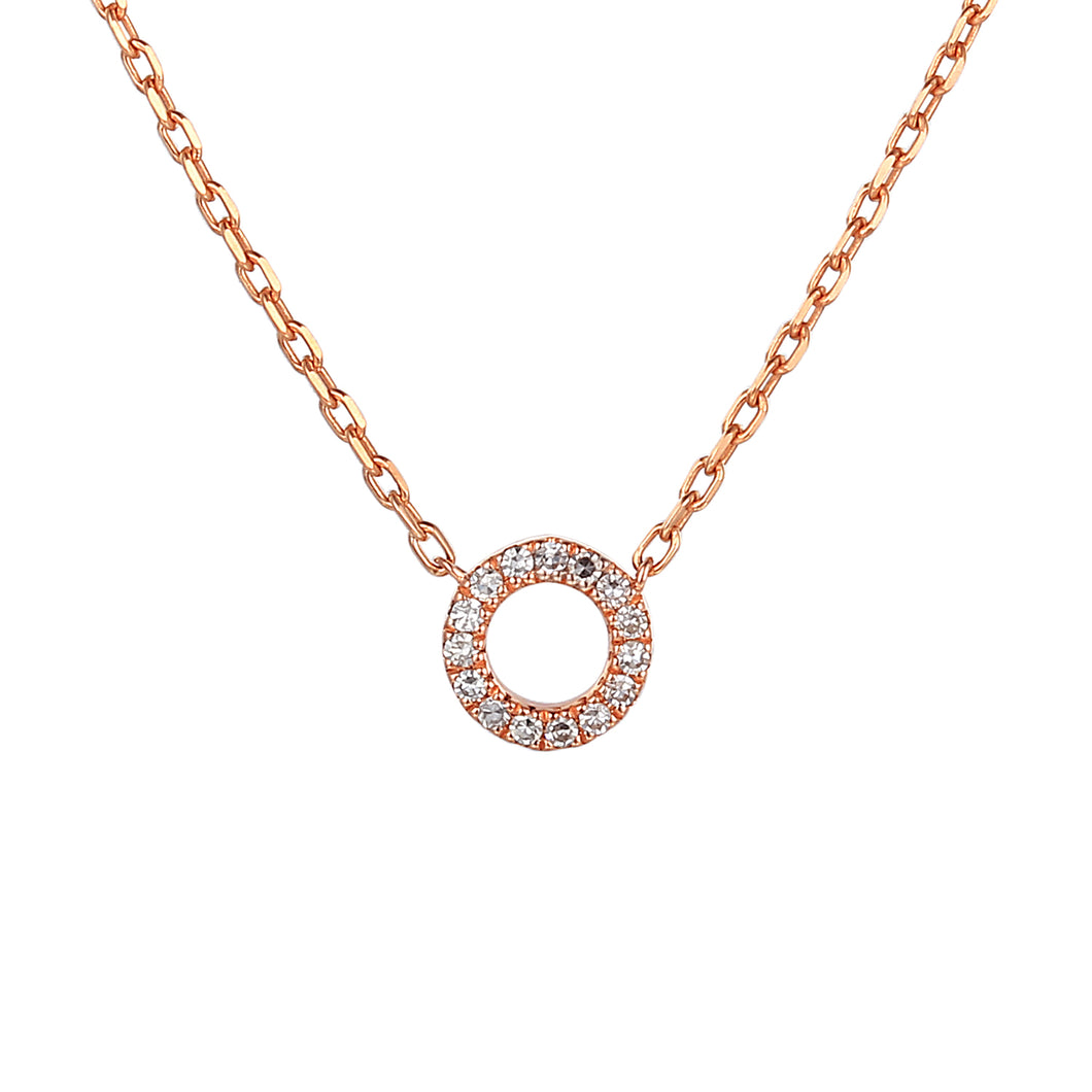 Diamond Open Circle Necklace 18ct Rose Gold