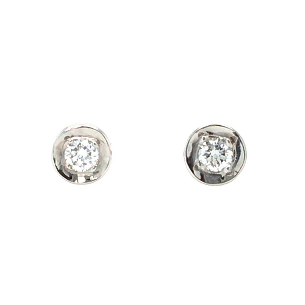 18ct White Gold Organic Rim Diamond Stud Earrings