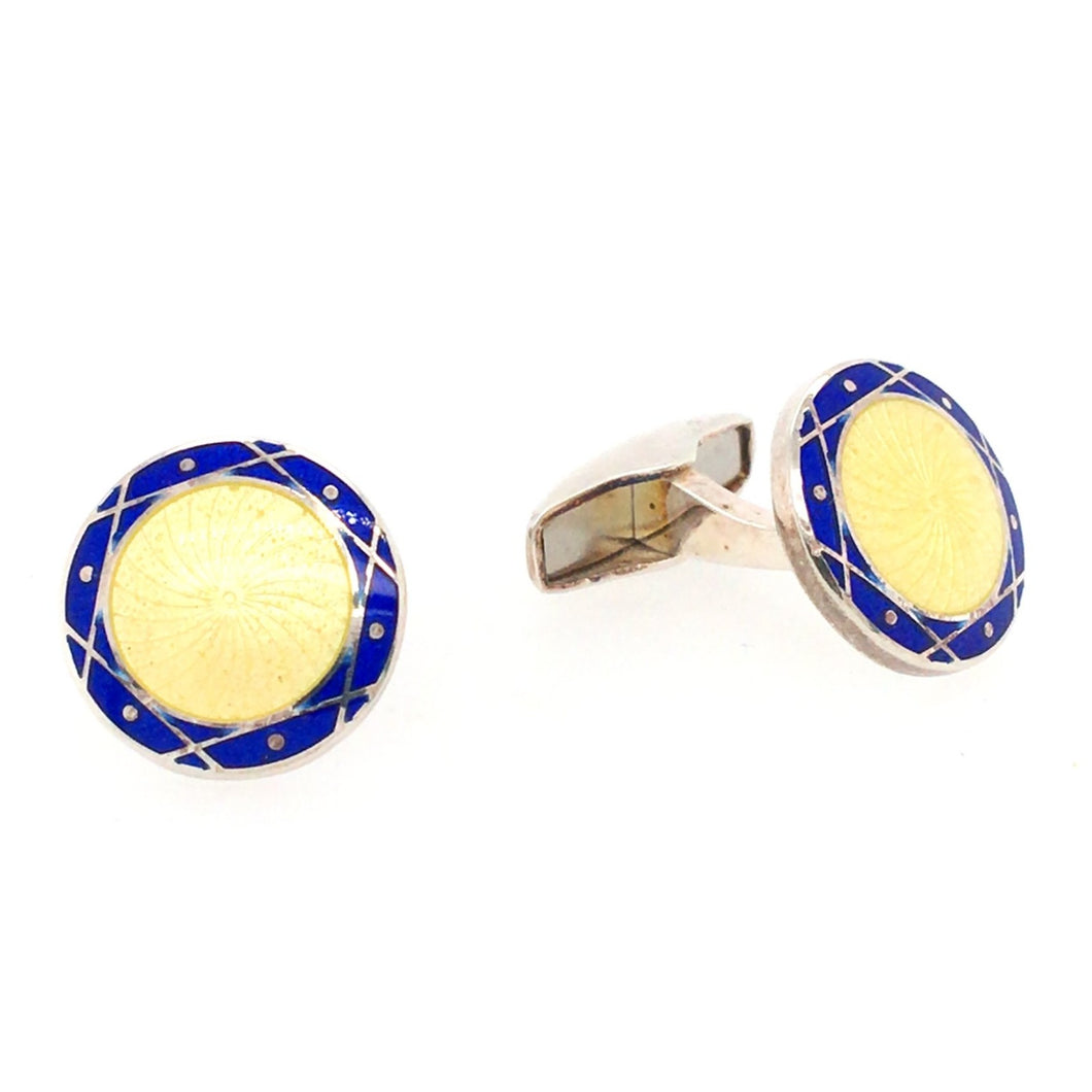 Blue and Yellow Target Cufflinks