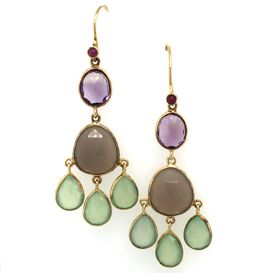 Chandelier Amethyst, Ruby & Chalcedony Drop Earrings