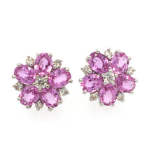Load image into Gallery viewer, Pink Sapphire & Diamond Flower Earrings