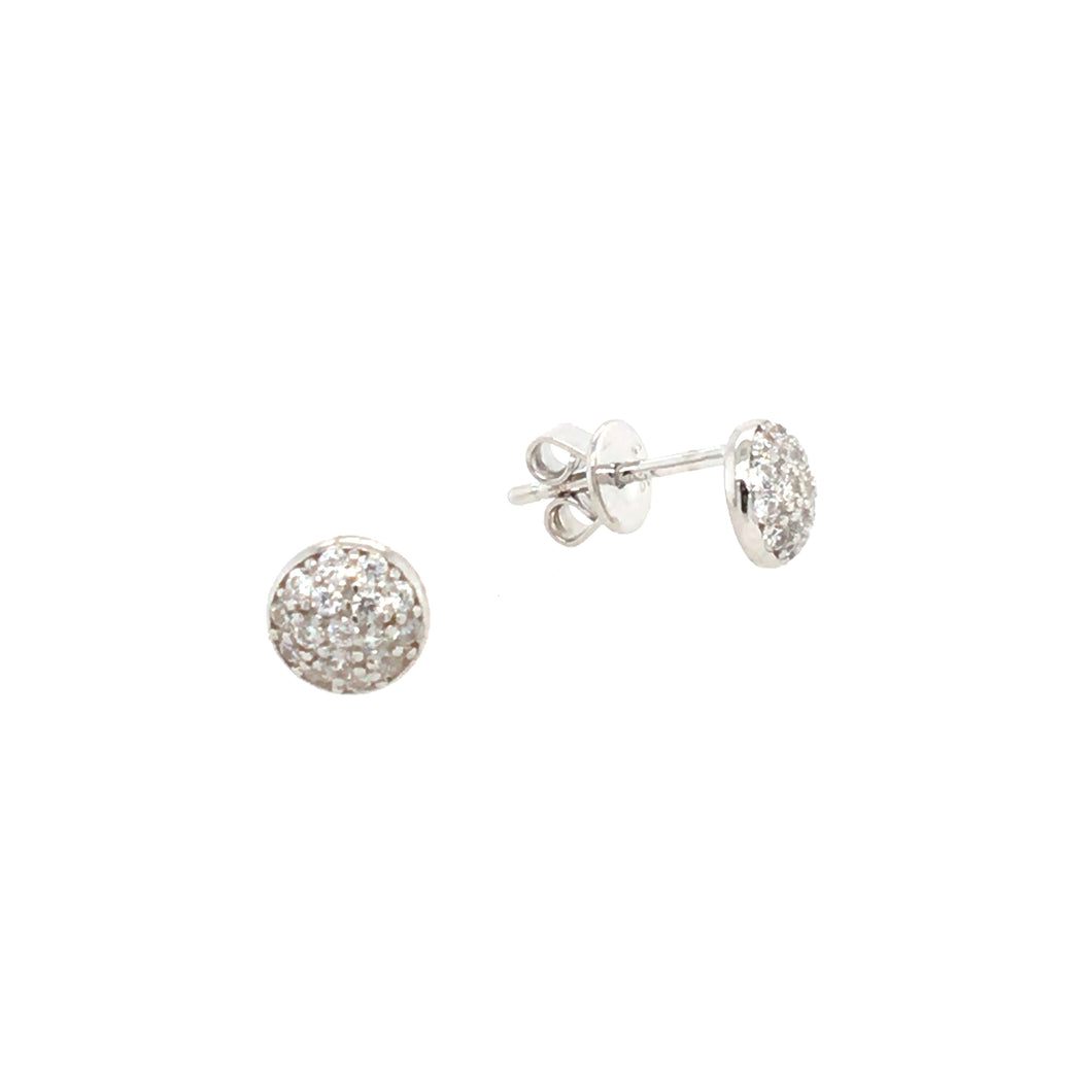 Silver Dome Sparkle Stud Earrings
