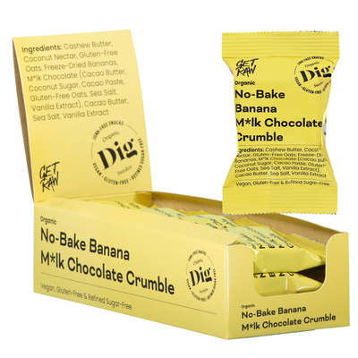 No-Bake Banana M*lk Chocolate Crumble 12 x 35g - Dig/Get Raw