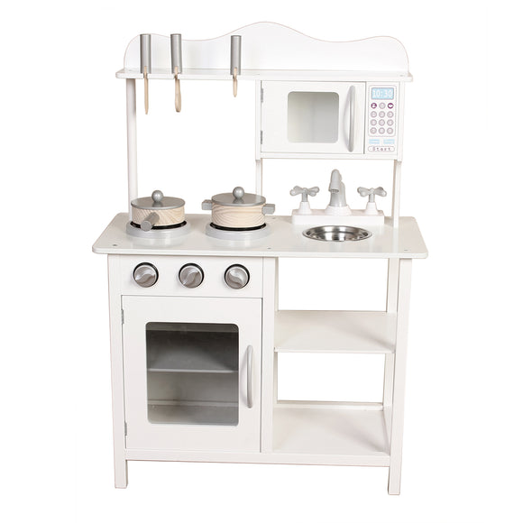 Large Wooden Play Kitchen with Accessories